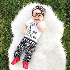 2PCS Newborn Baby Boy Girls T-shirt Tops+Long Pants Leggings Outfits Clothes Set
