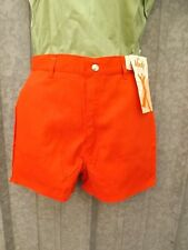 Deadstock Vtg 70s NEW NOS Bold Red 50/50 Twill Sporty High Waisted Shorts 11/12