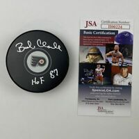 Autographed/Signed BOBBY CLARKE HOF 87 Philadelphia Flyers Hockey Puck JSA COA