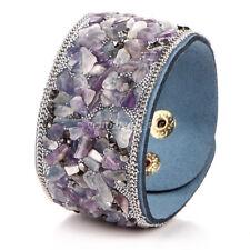 Women Bracelet Purple Natural Gravel Stone Velvet Leather Chain Bangle Wristband