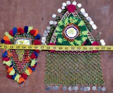 Vintage Beaded Jean Jacket Kuchi Textile Applique Tribal Clothing Patch 2X LOT