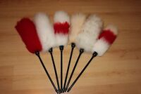 """Six (6) Janitor lambswool dusters plastic handle 60cm (24 """") export wool special"""