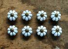 Set of 8 WHITE ENAMEL PULL Drawer Cabinet Knob Porcelain Handle Screws Included