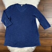 Eileen Fisher Women's Size Large Blue Ribbed Knit Sweater Tunic Top Linen Cotton