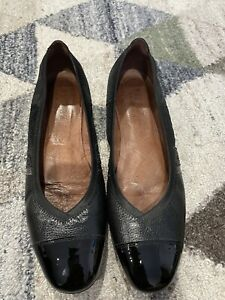 Hispanitas Black Leather Patent Leather And Sparkle Wedge Shoe 38