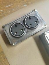 More details for new vintage industrial 2 gang cast metal socket - bs en approved