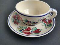 Vintage HB Henriot Quimper Cup and Saucer Set Beige color