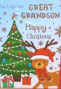 GREAT GRANDSON CHRISTMAS CARD ~ Fun Modern Reindeer By Christmas Tree