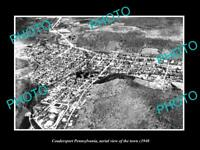OLD LARGE HISTORIC PHOTO OF COUDERSPORT PENNSYLVANIA AERIAL VIEW OF TOWN c1940