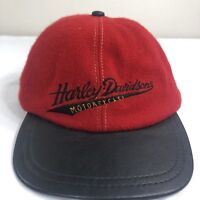VTG Harley Davidson Leather Strapback Hat Wool Biker Trucker Made USA 6 Panel