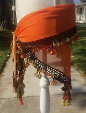 Shades of Orange Belly Dancing Hip Scarf with Multi-Color Beads