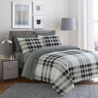 Reversible 4Pcs Duvet Set with Fitted Sheet Pillow Case 100% Cotton Grey - 904