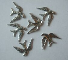 8 Swallow  charms antique silver tone B180