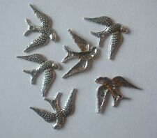 25 x Swallow Charms Bird 24x16mm Antique Silver Tone Pendants Crafts