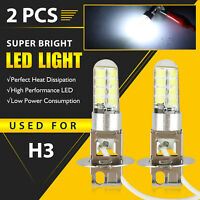 2x H3 16-SMD LED Fog Light Bulbs DRL Driving Lights Replacement Bright White 12V