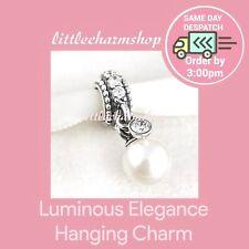 Genuine Authentic Pandora Silver Luminous Elegance Pearl Dangle Charm - 791871P