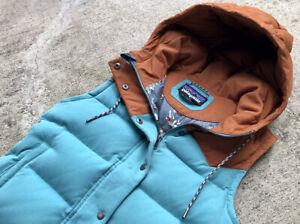 RARE Patagonia Women's Bivy Down Vest XS Small Blue Brown Hooded Mushroom 27746