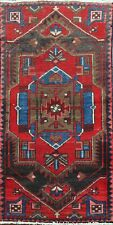 Antique Geometric Red/Blue 2'x4' Bakhtiari Area Rug Hand-Knotted Kitchen Carpet