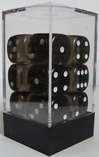 PACK OF 12 SMOKE GEM DICE - 6 SIDED & 15mm SIDES !!