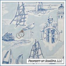 BonEful Fabric FQ Cotton Quilt VTG Sea Toile Blue Beach Ocean Sail Boat Scenic L