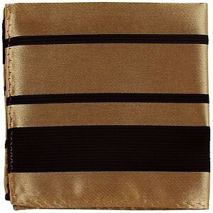 New Men's Polyester Woven pocket square hankie only black mocca pin stripes