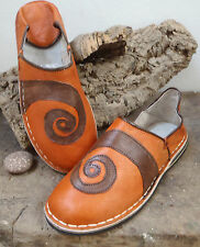 FUNKY LEATHER MOROCCAN BABOUCHE SLIPPERS 9/43 ORANGE