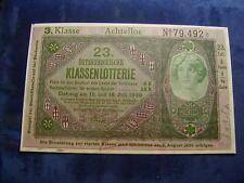 20 Kronen 23. Klassenlotterie Achtellos 3. Klasse Donaustaat Österreich W/17/193