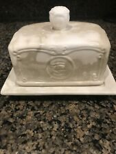 """THL Marbled Butter Dish with Lid  Rose Pattern RARE Beautiful EUC 6"""" Ceramic"""