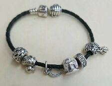 """Authentic PANDORA Sterling 925 Cord Bracelet LOADED W/7 CHARMS! 7"""" Long,"""