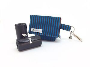 Dog Walking Pouch, Dog Poo Bag Carrier, Doggy Bag, Blue and Brown Stripe