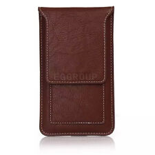 Brown Flip Leather Case Card Pouch Bag Sleeve Belt Clip Loop Universal For Phone