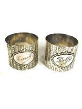 Vintage German KRAFT ALPACCA (ROBERT KRAFT) Pair of Engraved Napkin Rings