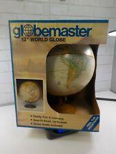 "Replogle Globemaster 12"" Raised-Relief World Globe Bright Blue Design - NEW"
