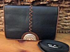 BRIGHTON NWT Afrikanz Black Leather Organizer Crossbody Purse