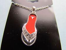 TEXAS LONGHORNS  FLIP FLOP NCAA Necklace Rhinestone Jewelry  New