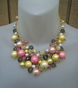 J. CREW Pink Yellow Pearl Gold Tone Cluster Cascade Bib Bead Necklace Statement
