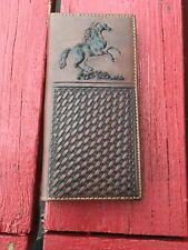 BI-FOLD LONG WALLET GENUINE LEATHER  WESTERN COWBOY HORSE BROWN 14 CARD SLOTS