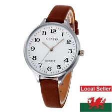 Ladies Geneva White Large Face Thin Brown Faux Leather Strap Wrist Watch