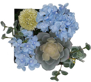 Artificial Plants blue Flowers Room Wall Art 3D Home office Decor white frame