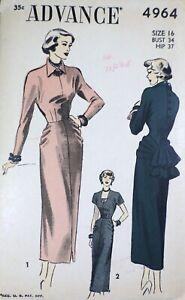 Vtg 1940s Advance 4964 Draped Hip Bustle Cocktail Date Dress SEWING PATTERN 16