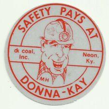 Donna-Kay Coal Inc. Neon Ky Vintage Unused Mining Hard Hat Decal Sticker
