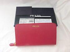 NWT Prada Saffiano Leather Double Bicolor Zip Around Wallet, Pink/Black