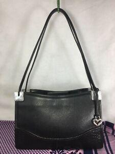 Vintage Brighton Authentic Shoulder bag Carry Bag Purse handbag Black Leather