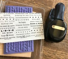 Stampin Up retired, WORD WINDOW PUNCH & 29 SENTIMENTS Wood stamps