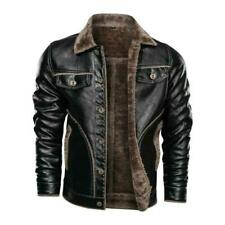 Winter Mens Leather Jacket Thick Motorcycle Bomber Coat Single Breasted Warm New