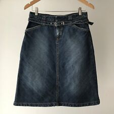 ZARA TRF 100% Cotton Denim Skirt with Belt, Size AU 8 / USA 4