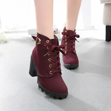 fe3b5aa55fdc9 High Heel Lace Up Ankle Hiking Boots Buckle Platform Shoes Women's Girls sz  5.5