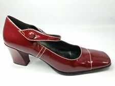 Nine West Womens Size 8.5 Mary Jane Pumps Heels Shoes Red Square Toe Dress