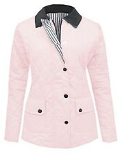 Size 18 20 New Ladies Quilted Padded Zip Popper Jacket Women's Coat Pink