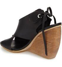 NEW! Rare wedges REBECCA MINKOFF Eden Black leather Wooden platform Crisscross 8